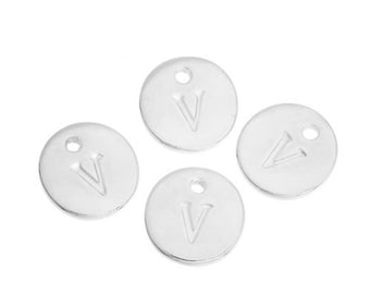 Letter V - 12mm Silver Pendant