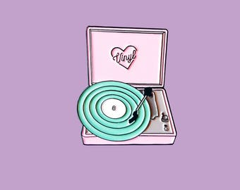 Retro Pastel Vinyl Record Player Enamel Lapel Pin