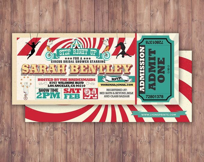 CIRCUS bridal shower- Carnival invitation-wedding invitation- graduation party, school dance invitation,birthday, baby shower