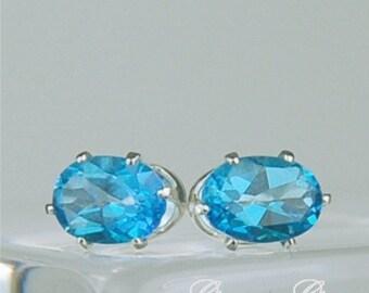 Swiss Blue Topaz Stud Earrings Sterling Silver 7x5mm Oval 1.75ctw