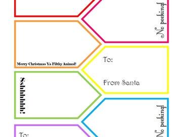 Printable Christmas Tags- Brights