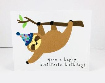 Sloth birthday card, Slothtastic birthday, happy birthday sloth card, funny birthday card, sloth greeting card, punny birthday card