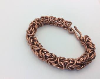 Ladies or men's  Byzantine handmade chain maille bracelet, Copper