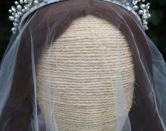 Royal bridal crown, Swarovski crown, Crystal tiara, Bridal tiara, Pearl tiara with rhinestones