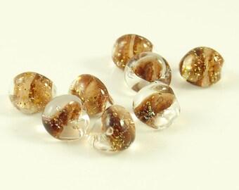10mm Unicorne Tear Drop Lampwork Beads - Auburn Sun Glitter - 4 Pieces - 22127