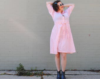 Vintage Pink Dress - Striped Dress, Pink Striped Dress, Striped Shirt Dress, Vintage Dresses