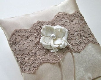 CLOSEOUT SALE Ring Bearer Pillow in Mocha Latte Satin and Lace with Cream Flower trim, Wedding pillow.