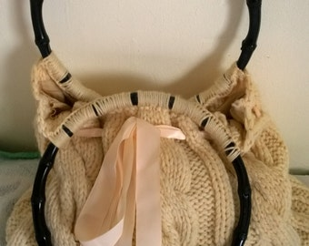 hand-knitted wool vintage style handbag