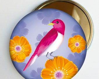 """Floral Pocket mirror """"Rosy"""" bird, accessory gift woman"""