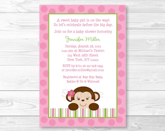 Cute Pink Monkey Baby Shower Invitation / Monkey Baby Shower Invite / Pink & Green Monkey / Baby Girl Shower / PRINTABLE A336