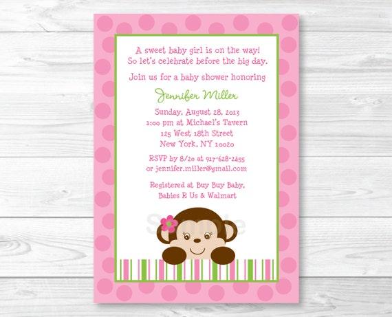 Cute pink monkey baby shower invitation monkey baby shower filmwisefo