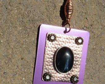 C-59 Blue Tiger Eye Copper Aluminum Pendant Necklace, Hawk Eye Pendant, Metalsmith Jewelry, Blue Tiger Eye Pendant, Mixed Metal Jewelry