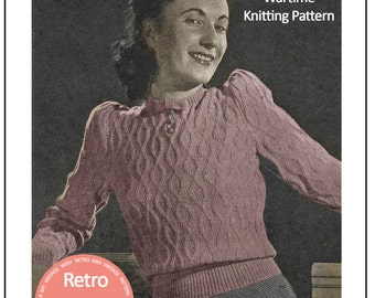 1940's Wartime Long Sleeve Sweater - PDF Knitting Pattern - Instant Download