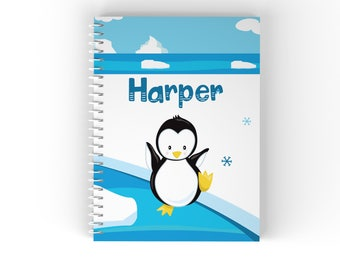 Personalized Notebook - Arctic Animal Winter Ice Snow Scene with Name, Customized Spiral Notebook Back to School