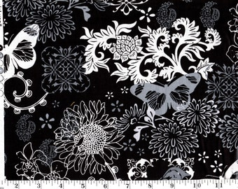 1 Yard, David Textiles Gray Flowers and Birds on Black