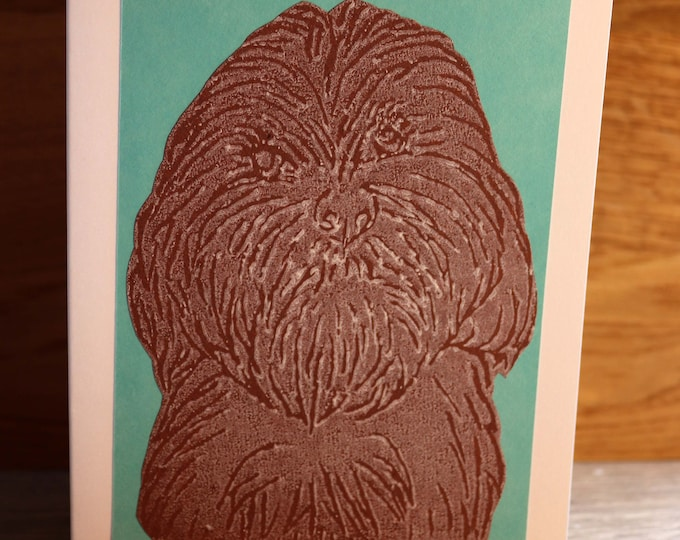 Cockerpoo, Bichon Frise Greeting Card, Blank inside, Hand printed & paper cut on to green background, love dogs, pooch, fur baby, pet, woof
