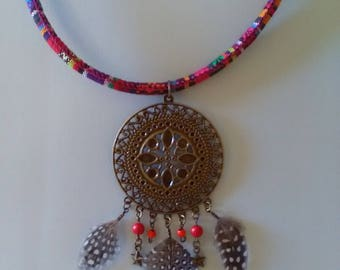 Ethnic necklace feathers and beads