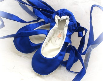 Royal Blue Satin Wedding Ballet Flats Shoes Bridal Ballet Slippers with Ribbons Custom Wedding Shoes Wide Shoes for Brides