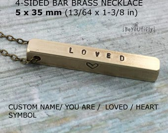 You are Loved Necklace, Personalized 4 Sided Bar Necklace, Custom Quote Bar, Four Sides Vertical Bar, 4 Kids Names, Mother Necklace, For Her