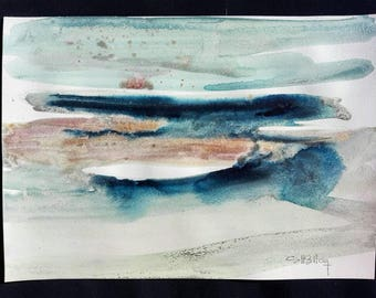 Original watercolor blue, grey, Golden and Brown