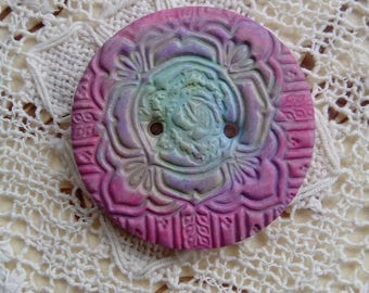 Round polymer clay button, pink button, focal button, handmade button, sewing, knitting, scrapbooking, card making, craft supply