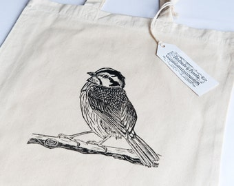 Bird on Branch screen printed tote bag