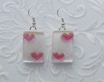 Pink Heart Earrings, Dichroic Fused Glass Earrings, Heart Earrings, Valentine Earrings, Fused Glass, Valentine Gift, Gift For Her X3175
