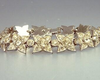 Viintage Art Deco Rhinestone Flower Bracelet