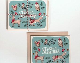"10 Christmas Cards - ""Season's Greetings"" Woodland Animals"