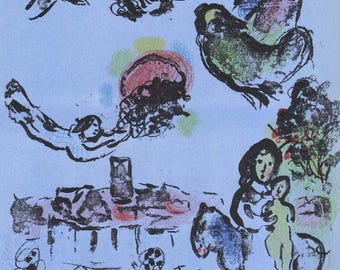 """Chagall """"Nocturne at Vence"""" Original Lithograph 1963 -b"""