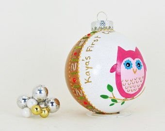 Baby girl First Christmas - Cute owl - Personalized hand painted glass ornament