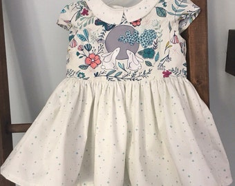 Girls EASTER SPRING Bunny Dress with Collar