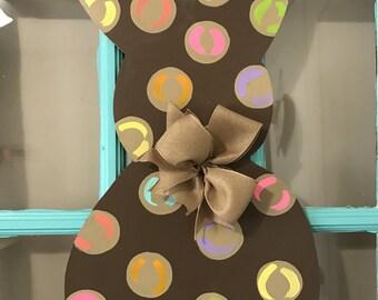 Chocolate Polka Dot Bunny Wooden Door Hanger