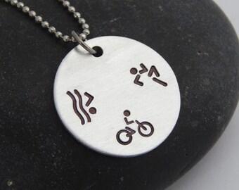 Triathlon Necklace Swim Bike Run - Personalized Necklace - 70.3 140.6 Do you TRI? Ironman Ironwoman Athlete Birthday Christmas