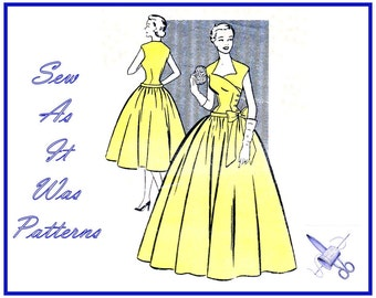 """1950s Mademoiselle 3426 Asymmetrical Surplice Buttoned Bodice Flared Skirt Dress Bow Drop Waist Vintage Sewing Pattern Size 10 Bust 32"""" 83cm"""