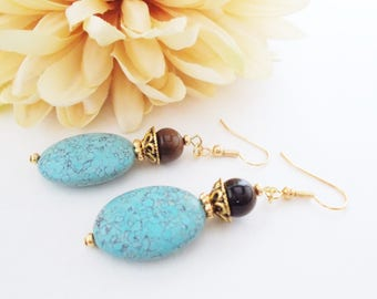 Turquoise Earrings Gold, Boho Beaded Dangle Earrings Handmade, Chunky Earrings Bohemian Earrings, Birthday Gift for Her Best Selling Jewelry