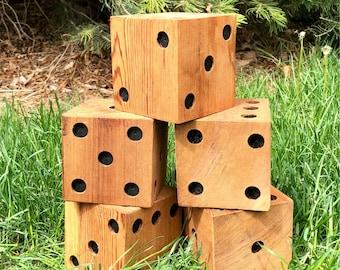 Solid Wood Cedar Jumbo Dice, Handmade, Hand painted, Game Room, Rec Room, Yardzee, Yahtzee, Bunco, large dice, lawn dice, game room decor