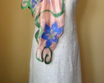 Felted ruffled shawl scarf  - Handmade wool and silk