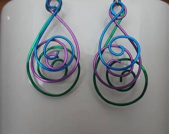 Oil Color Swirl Wire Earrings