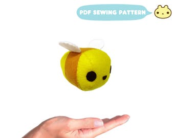 Felt Sewing Pattern, Mini Bee Pattern, Little Plush Bee, Stuffed Animal Tutorial, PDF Sewing Pattern, Little Bee Toy Sewing, Bumble Bee Toy