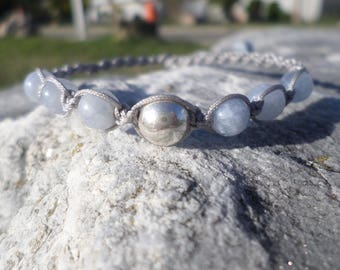 Bracelet in pearls of acute(sharp) marine, Silver 925 and macrame