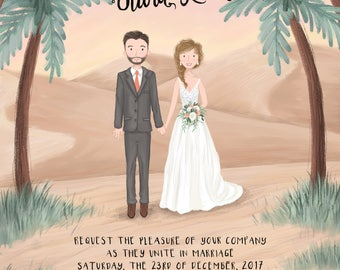 Wedding Invitation - Custom Illustrated