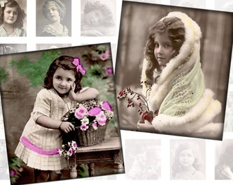 Victorian and edwardian Vintage children digital collage sheet  0.75 x 0.83 inches   (162) Buy 3 - recieve 4