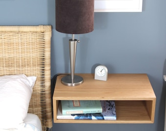 Floating Nightstand / Hanging Bedside Table in White Oak, Mid-Century Modern Inspired Floating Shelf Side Table Wood End Table Scandinavian
