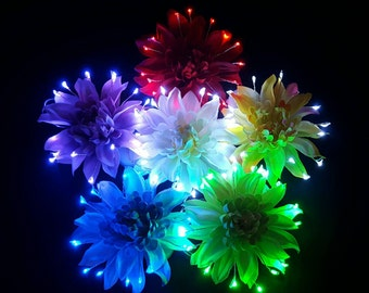 Rainbow LED Light Up Flower Party Pack