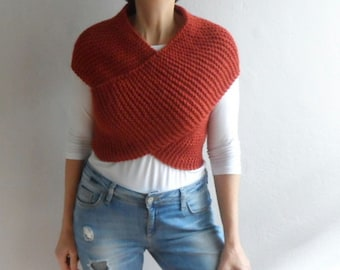 Knit Vest Cross Sweater Scarf Cowl Hood Wrap Capelet Neckwarmer Top in Brick Red Winter Accessories