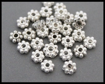 Sample 10 beads - 4mm SILVER Daisy Spacer 4x1.8mm Round Metal Daisy Snowflake Bead Spacers - USA Discount Beads - Instant Ship - 6726