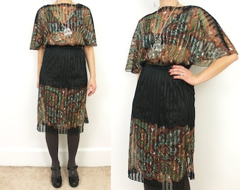 Vintage Black and Paisley XS/S striped dress // Dolman sleeve // boat neck // sheer // 80s