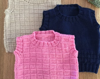 Vest - Custom made child's 100% merino wool hand knitted
