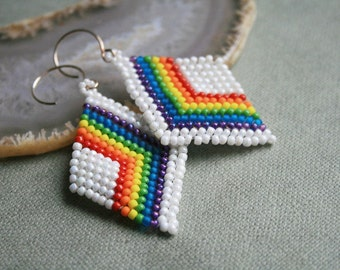 rainbow earrings, native earrings, seed bead earrings beaded earrings, beaded diamond beadwoven earrings, handmade earrings, dangle earrings